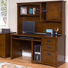 Mission Pasadena Computer Desk with Hutch, OFG-DH1081