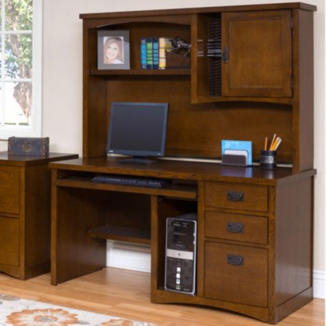Mission pasadena computer desk with hutch - Mission style computer desk with hutch ...