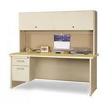"Single Pedestal Desk with Hutch - 72"" x 30"", OFG-DH1099"
