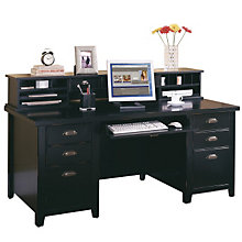 Tribeca Loft Black Executive Desk with Hutch, OFG-DH1100