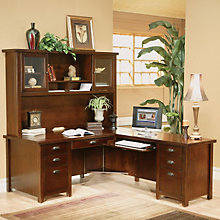 Tribeca Loft Cherry Right Return L-Desk with Hutch, OFG-DH1102