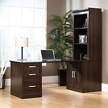 Office Port Dark Alder Library Desk with Hutch, OFG-DS1040