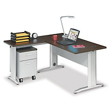 "Sector 60""W Single Pedestal L-Desk, OFG-LD0094"