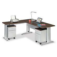 "Sector 72""W Double Pedestal L-Desk, OFG-LD0095"