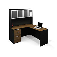 Pro Concept L-Desk with Glass Door Hutch, OFG-LD0102