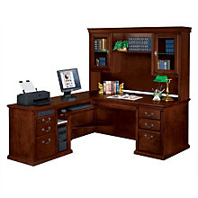 Huntington Cherry L-Desk with Left Return and Hutch, OFG-LD0104