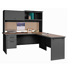 Single Pedestal L- Desk with Hutch, OFG-LD1127