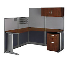 Hansen Cherry L Workstation with Panels and Storage, OFG-LD1128
