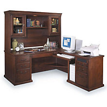 Burnished Oak Right Return L-Desk with Hutch, OFG-LD1131