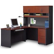 Via Compact L-Desk with Hutch, OFG-LF0065