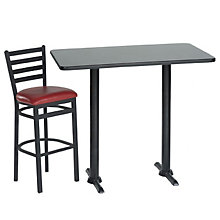 Rectangular Lunch Room Table with Two Stools, OFG-LR0002