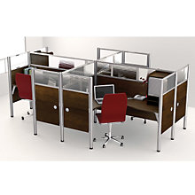 Pro Biz Four Person Workstation with End and Plexi Panels & Hutches, OFG-MS0001