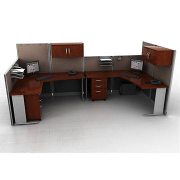 Hansen Cherry Two Person Workstation with Panels and Storage, SET