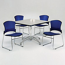 "Breakroom Set - Four Armless Fabric Stack Chairs and 42"" Square Table, OFG-TS1021"