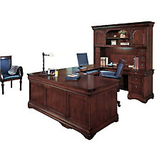 Chocolate Patina Finish Right U-Desk with Hutch, OFG-UD1031