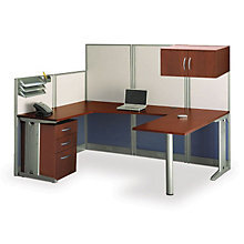 Hansen Cherry U-Workstation with Panels and Storage, OFG-UD1087