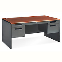 "Compact Panel Desk with Pedestal - 57""W x 29.5""D, 8802090"
