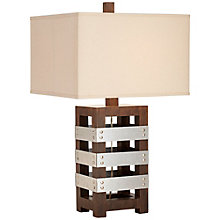 Wood and Metal Crate Table Lamp, 8803432
