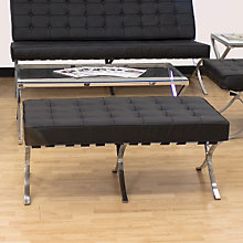 Princeton Black Leather Bench, REN-7105