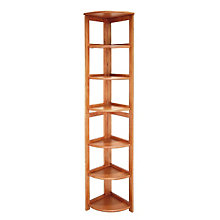Wood Six-Shelf Corner Bookcase, REN-HBCFC6712