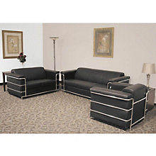 Black Leather Reception Seating Group, OFG-GR0013