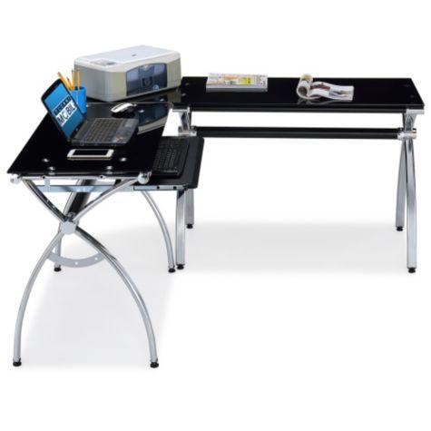techni mobili black glass l shaped computer desk. Black Bedroom Furniture Sets. Home Design Ideas