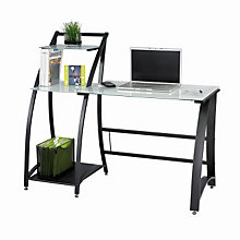 Xpressions Glass Top Laptop Desk with Side Shelves, SAF-1936TG