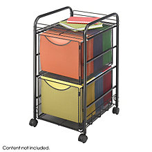 Black Mesh Two-Tier Mobile File Cart, SAF-5212BL