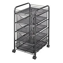 Four Drawer Black Mesh Utility Cart, SAF-5214BL
