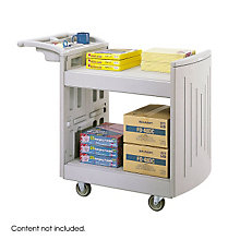 Plastic Two-Shelf Mobile Utility Cart, SAF-5330GR