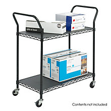 Black Wire Two-Shelf Mobile Utility Cart, SAF-5337BL