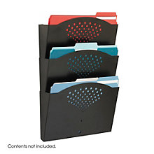 Three Pocket Black Steel Wall File Holder, 8801482