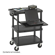Black Plastic Multimedia Projector Cart, SAF-8929BL