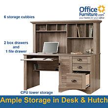 Harbor View Salt Oak Computer Desk with Hutch , SAU-01222