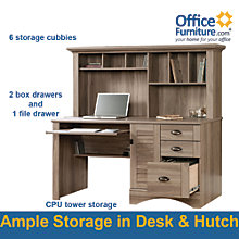 Harbor View Salt Oak Computer Desk with Hutch , SAU-01222