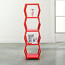"Soft Modern Four Shelf Hexagonal Bookcase - 55""H, SAU-10976"