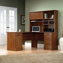 Shaker Cherry L Shaped Desk with Hutch, SAU-11154
