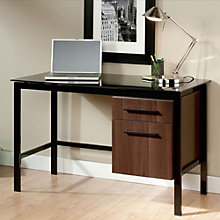 Glass Top Desk with Half Pedestal, 8801968