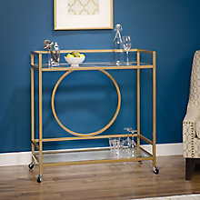 International Lux Art Deco Inspired Bar Cart with Casters, 8804425
