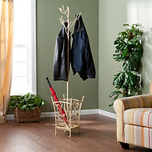"Distressed Decorative 69.5""H Coat Tree with Umbrella Stand, 8802743"