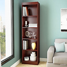 "Axess Five Shelf Narrow Bookcase - 71""H, SSF-10994"