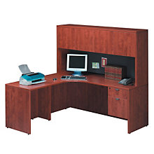 Cherry L-Desk with Left Return and Hutch, STL-6666L