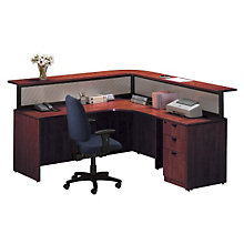 Cherry L Shaped Receptionist Desk With Right Return, STL-7171L