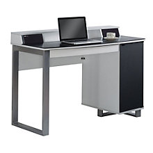 "Enterprise Glass Top Desk with Power and Speakers - 47.5""W, 8804982"