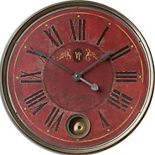 "Red Weathered 23""Dia Wall Clock, 8801693"