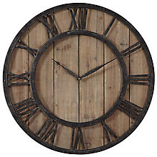 "Wood and Metal 30""Dia Wall Clock, 8801700"