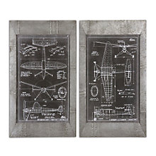 Aeronautic Blueprints - Wall Art- Set of Two, 8801879