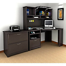 Cabot Corner Desk with Hutch and File, 8804873