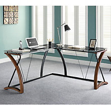 "Opaque Glass Top L Desk with Right Return - 61"", 8801323"