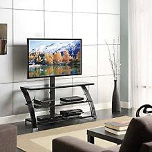 Camarillo Tempered Glass Three Shelf TV Console, 8802455